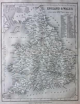 Map of ENGLAND & WALES 2, c1840 County map by Archer for Dugdales England, UK