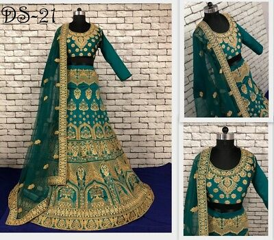 GREEN Silk Net New Bridal Wedding Wear Lengha Choli Dupatta Embroidered Lehenga