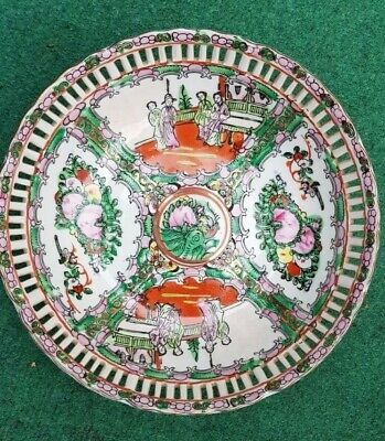 Antique Vtg Chinese Rose Canton Porcelain Pierced Reticulated Bowl Deep Plate 9""
