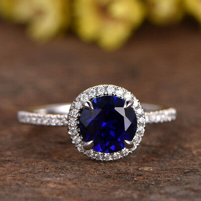 2.50 Ct Oval Round Diamond Engagement Ring Sapphire 14K White Gold Size 5 4 8 4
