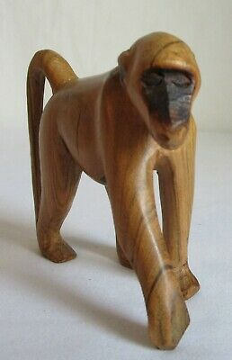 Vintage Hand Carved Wood Baboon Sculpture