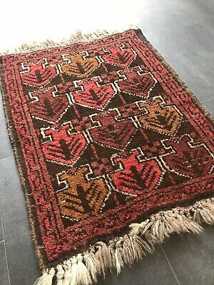 Old Hand Knotted Oriential Afghan Belutsch Art Deco Old Rug