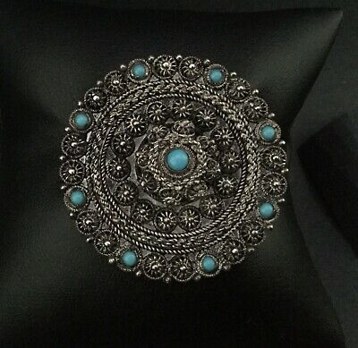 Antique Vintage Bedouin Turkish 950 SILVER FILIGREE & TURQUOISE BROOCH- 1.5""