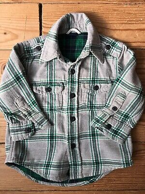Boys Baby Gap Checked Shirt Age 6-12 Months Green