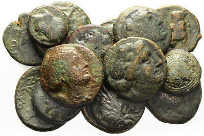 FORVM Lot of 15 Ancient Greek Bronze Coins Actual Coins in Photograph