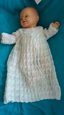 Hand Knitted Christening Gown in white 2ply wool. Age 0 - 3 months