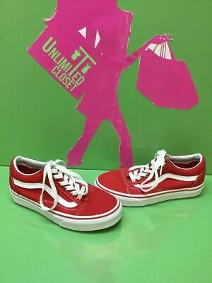 924c8adbf8ac5 VANS Classic Old Skool Red Canvas Lace Up Skate Shoes Men's Size 4 Women's  5.5