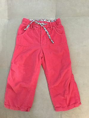 Baby Boden Pull On Lined Corduroy Pants Size 18-24 Month Pink Floral Used Once