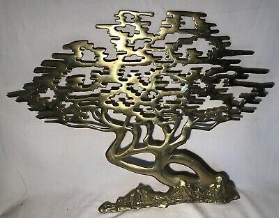 "Vintage Asian Solid Brass Bonsai Tree of Life Wall Hanging Cypress 16""x20"" Art"
