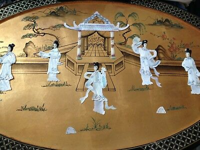 CHINESE MAGNIFICENT HAND CRAFT MOTHER PEARL LADY CHINESE ART TEA TABLE Vintage2k