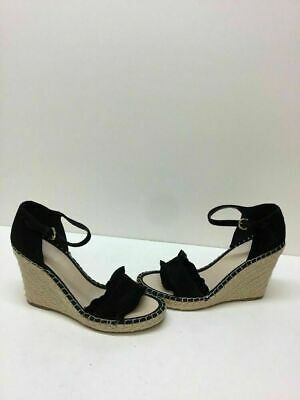 cc6fcf8eb95 Marc Fisher  Kickoff  Black Suede Ankle Strap Espadrille Wedge Heels  Women s 10M