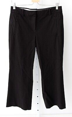 J.CREW Womens Teddie Pants Crop Flared Ankle Flat Front Black E8366 Size 6