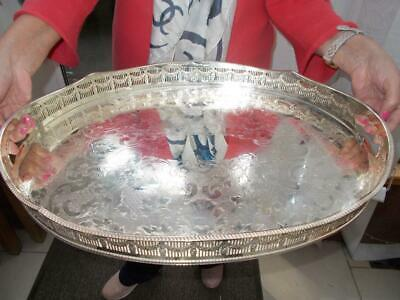 "Very Large Silver Plate Tray Rise Fall Wave Effect Gallery Tray 20.5"" Lovely"