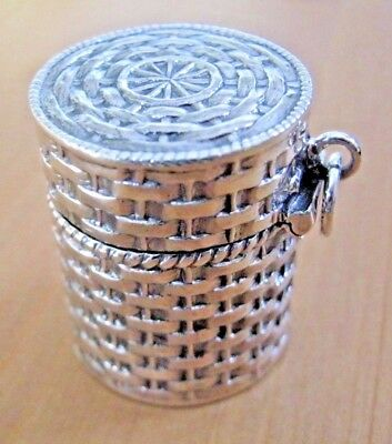 Pretty Hallmarked Solid Sterling Silver Basket Weave Thimble Case Chatelaine