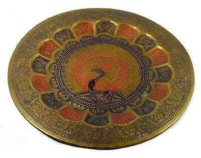 Antique Enamel Handcrafted Beautiful Peacock Carved Decorative Plate. G26-27 UK