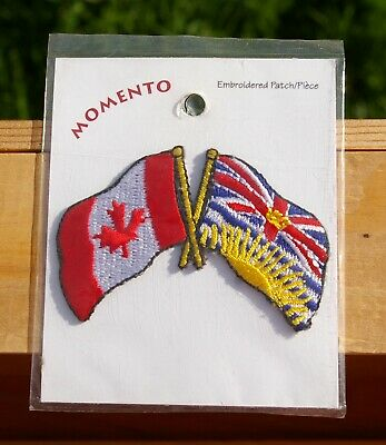 """Canada & British Columbia Flags 2 5/8"""" Embroidered Patch Souvenir"""