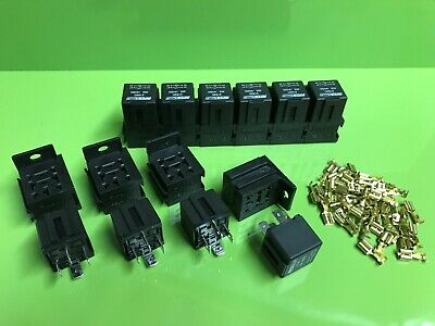 10 x 40 Amp 4 Pin Relays with holders and terminals