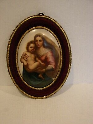 Large  KPM Porcelain Hand Painted Madonna & Child in Brass Frame,Italy