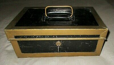 Antique Old Metal Money Cash Document Box Black And Gold With Key