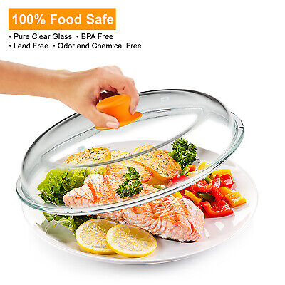 Glass Tall Microwave Plate Cover w/ Handle | 100% Food Safe | Dishwasher Safe