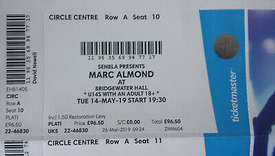 Marc Almond In Manchester. 2 Platinum Tickets. Circle Front Row! Tue 14Th May