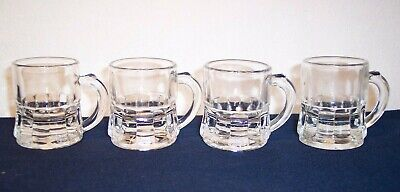 Set Of 4 Federal Glass Mini Beer Mugs Steins Shot Glasses  -  Marked - Excellent