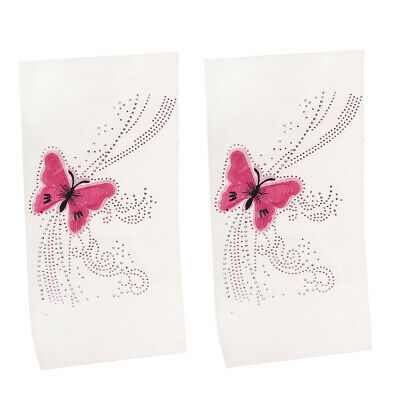 2 Pcs Pink Butterfly Iron on Rhinestones Hotfix Transfer Patches Applique