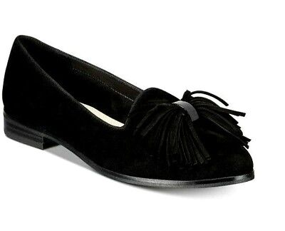 30b47f44262 Anne Klein  Dixie  Black Suede Almond Toe Loafer Flats with Accent Tassels