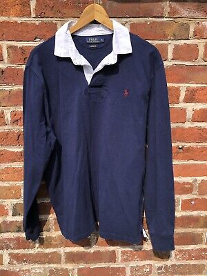 Polo Ralph Lauren Mens Long Sleeve Rugby Polo Shirt, Navy Blue, Xl, Custom Fit