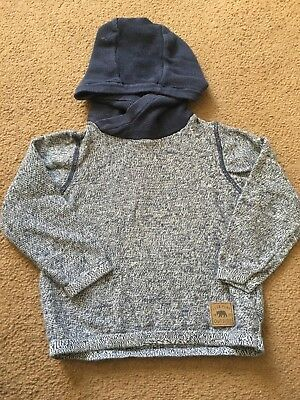Boys 2-3 Year Jumper Navy Fleck Hooded S/N102