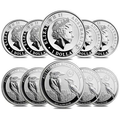 Lot of 10 - 2017 1 oz Silver Australian Kookaburra Panda Privy Perth Mint .999
