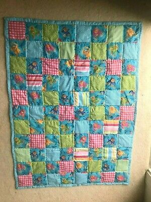 "MONKEY baby quilt in turquoise, lime, pink, NEW, 30"" x 40"", baby shower,handmade"