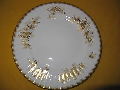 """ROYAL ALBERT ANTOINETTE GOLD DINNER PLATES dia 10.5"""" SMALL FLAWS, used in VGC"""