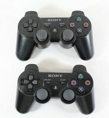 Sony PS3 Wireless DualShock 3 Sixaxis Official Genuine Controller Black lot of 2