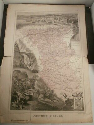 Antique 19thC Map FRENCH AFRICA ALGERIA ALGIERS PROVINCE FRANCE Vuillemin Migeon