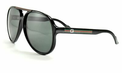 49f9af23210 GUCCI GG 1627 S D28r6 Black Aviator Sunglasses W  Gray Lenses ...