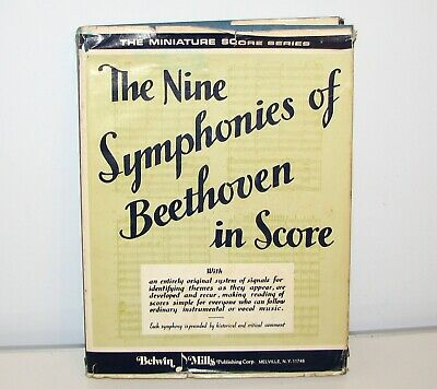Vintage 1935 The Nine Symphonies of Beethoven in Score Sheet Music Book HC w/DC