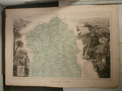 Original Antique 1887 Map PROVINCE D'ORAN FRENCH ALGERIA AFRICA Vuillemin Migeon