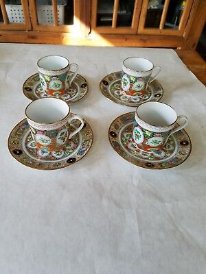 FOUR hand Painted Chinese Fruit Medallion Vintage Demitasse Cups and Saucers