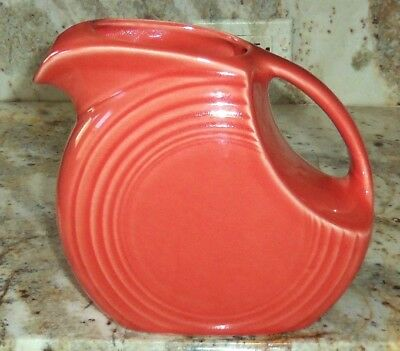 Vintage Fiesta Large Water Beverage Disk Pitcher Color Persimmon Peach Easter
