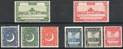 Pakistan 1949 KGVI set of mint stamps value to 12As SG44-51  Lightly HInged