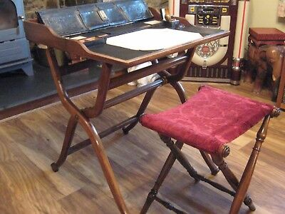 LATE GEORGIAN MAHOGANY FOLDING CAMPAIGN DESK,STOOL/SEAT.1stDIBS have one at 14K