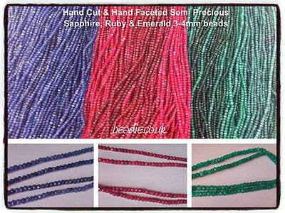 Hand Cut & Hand Faceted Genuine Ruby, Sapphire & Emerald 3-4mm Gemstone Beads
