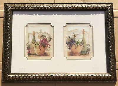 """Pre-owned Ornate Antique Gold Framed Twin Picture """"Fruit of the vine theme"""""""