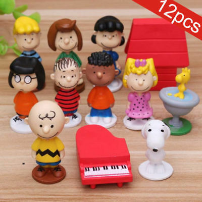 12pcs Peanuts Snoopy Charlie Brown Lucy Franklin Figure Figurine Cake Topper Toy