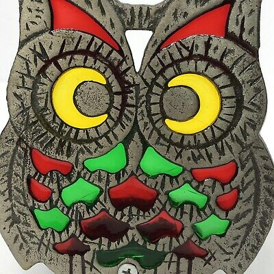 Vintage Owl Stained Glass Cast Iron Candle Holder Tea Light