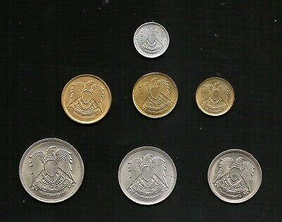Egypt  ARE COINS AMAZING SET OF FALCON ISSUE 1 MILLIEMES - 20 PIASTRES AB UNC