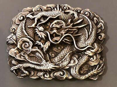 Antique Chinese Signed Sterling Silver Dragon Belt Buckle Fine Repousse Vintage