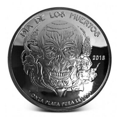 LOOK 2018 PROOF Dia De Los Muertos (Day of the Dead) DOMED 1oz .999 Silver Round