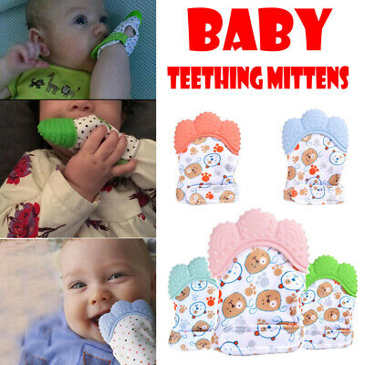 Newborn Kids Baby Silicone Mitts Teething Mitten Molars Glove Wrapper Gift Mitts